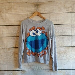 Cookie Monster Wide Neck Sweater Top S